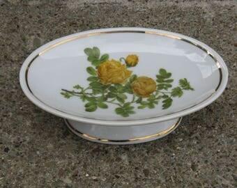 china pedestal soap dish yellow roses enesco japan shabby feminine