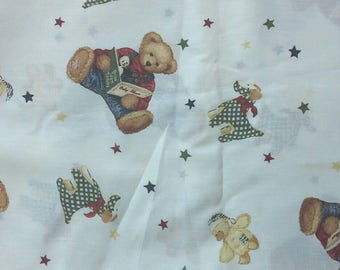 Daisy Kingdom Blue Jean Teddy Baby Album Tossed Allover Cotton Fabric 2 Yards X0898