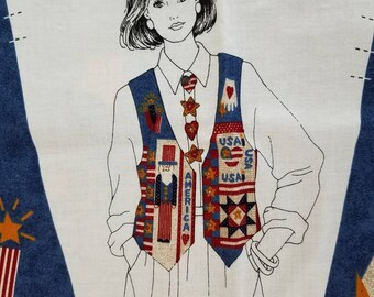 Patriotic Vest Fabric Panel, Uncle Sam Americana American 4th of July Independence Day DIY X1276