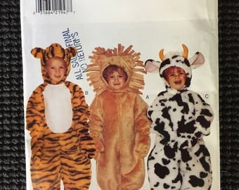 Butterick 4115 Toddler Cow Tiger Lion Animal Costume Sewing Pattern Size 1-4 UNCUT