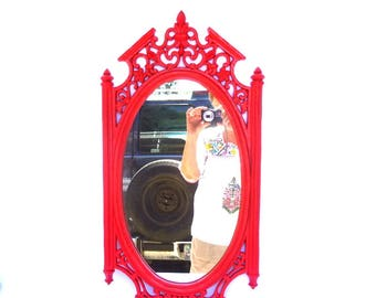 NEON PINK MIRROR / Upcycled Vintage Mirror