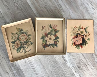 Set of 3 Framed and unframed Floral Botanical Prints by Georgia B Caldwell, artist / Art Deco Botanical Litho Prints / 1940s Floral Prints