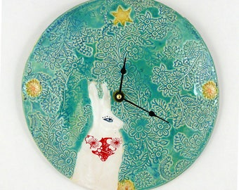 Handmade Wall Clock, Unique Wall Clock, Decor and Housewares, Ceramic Clock