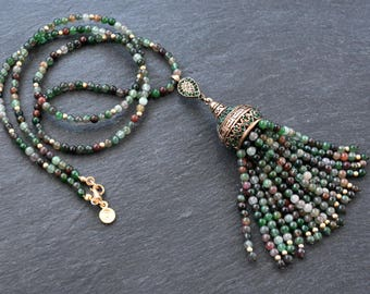 Ethnic Turkish Tassel Necklace Deep Green Flower Jade Stone Gemstone Greek Key Pattern Statement Gypsy Hippie Bohemian Artisan OOAK