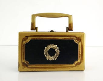 Royal London Box Purse / Vintage Black and Gold Handbag, Red Lining c. 1968
