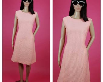 Vintage Peachy Mod Shift Polyester Dress