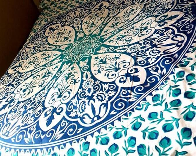 Blue Flower Duvet Cover Mandala Tapestry Boho Bedding with Matching Pillowcases Duvet Gypsy Bedding Dorm Room Beach Yoga