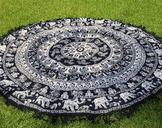 Black with White Accents Mandala Roundie with Black Fringe Mandala Tapestry Beach Blanket Yoga Mat Meditation Mat Dorm Decor Hippie Tapestry