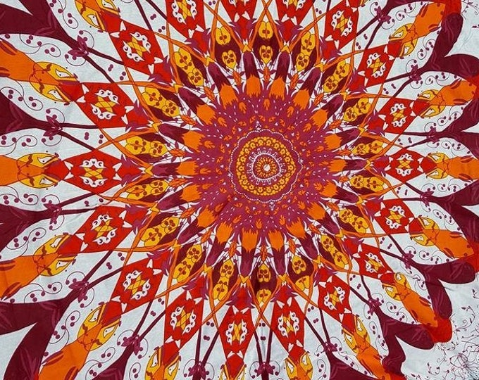 Red and Orange Fall Colors Mandala Roundie with White Fringe Tapestry Beach Blanket Yoga Mat Meditation Mat Dorm Decor Hippie Tapestry