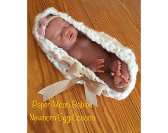 Newborn Photo Prop for your infant, silicone, or reborn baby Egg Cocoon wool