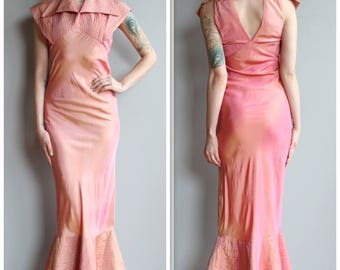 1930s Gown // Mermaid Blush Gown // vintage 30s gown