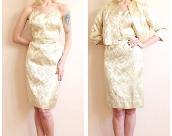 1960s Dress // Gold Silk Cocktail Dress & Jacket // vintage 60s dress