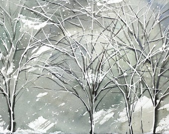 Winter no.1, limited edition of 50 fine art giclee prints from my original watercolor