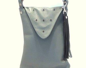 ON SALE Gray Leather Crossbody / Grey Crossbody / Crossbody Bag / Gray Purse / Cross Body Bag / Cross Body Purse / Grey Purse