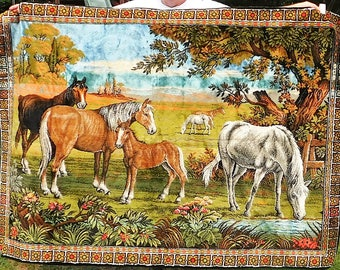 Woven Italian tapestry horses in field pasture blanket throw 70X48 rayon cotton