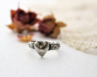 Sterling Silver Rustic Heart Ring