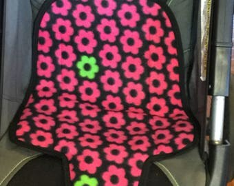 POTTY TRAINING Carseat Protector- Kidz Wiz Padz- Black with pink and green flowers