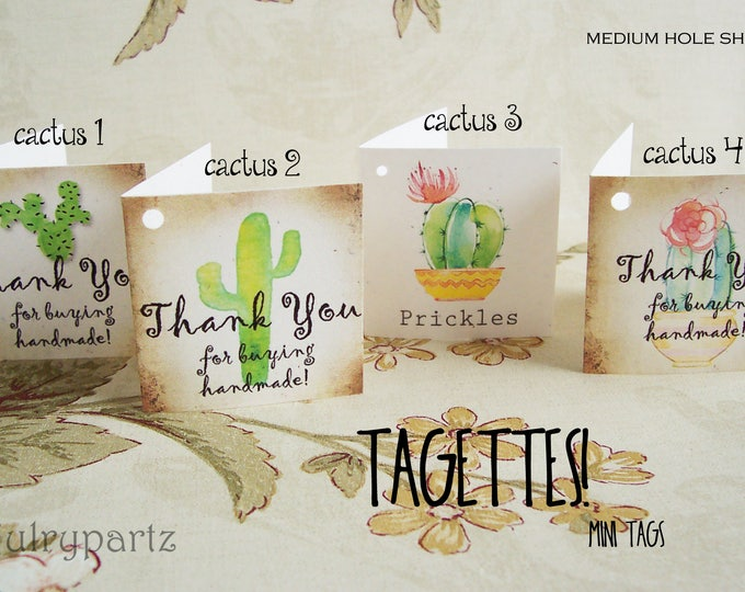 45-TAGETTES•CACTUS Mix•Mini Tags•Hang tags•Gift Tags•Favor Tags•Paper Tags•Price Tags•Clothing Tags