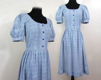 1970s Prairie Dress - Mini Print cotton blend - scoop neckline, ruffles - boho - Sm