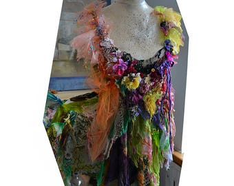 Wonderful Unique Art To Wear Colorful Forest Spring Tunic/Top DAFFODIL GIRL Fairy  Gipsy Mori Girl Boho Tattered
