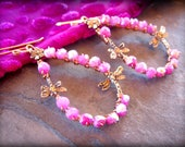 NEW Ruby Moonstone Earrings, Pink Gemstone Earrings, Artisan Copper Bronze Teardrop Hoops, Dragonfly Earrings, Wire Wrapped Boho Earrings
