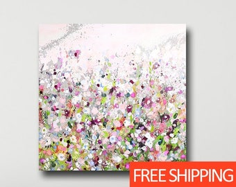 Large Floral Canvas Print from Painting, Floral Giclee Print, Wall Art, Abstract Floral Canvas, Large Canvas, Meadow Painting, Green, Pink
