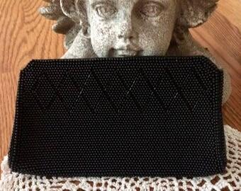 Vintage clutch purse, black, beaded,  metal zipper, Japan, 7.25, prom, formal, make upcast