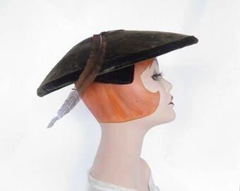 1950s platter hat, vintage brown velvet with feather