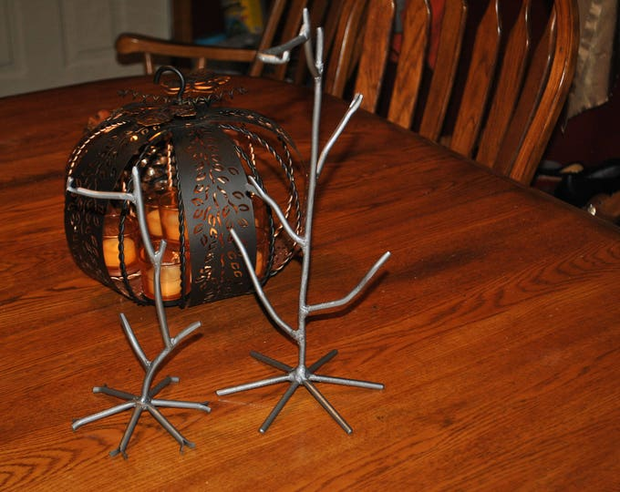 """For SALE Hand Forged Metal Ornament stand, Ornament Holder,  10"""" and 14.5 """" Holders  For Sale"""