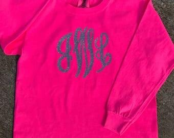 YOUTH Comfort Colors Long Sleeve Shirt With Jumbo Vinyl Monogram