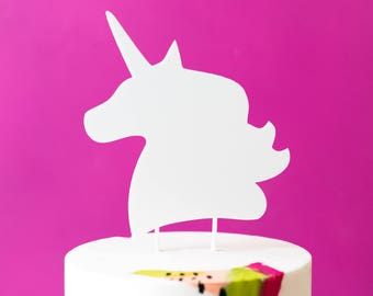 Unicorn Head Cake Topper, Laser Cut, Acrylic