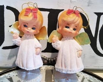 sweet little White Flocked vintage Angel Ornaments figures SET ~*~