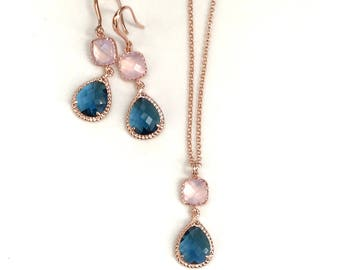 Blush wedding jewelry set, Opal pink and sapphire blue Earrings, wedding bridesmaids gift, mother of the bride gift