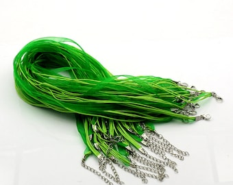 15 pcs. Green Organza Ribbon Waxen Cord Necklaces with Lobster Clasp - 17 inch (43 cm) - Claw Clasp