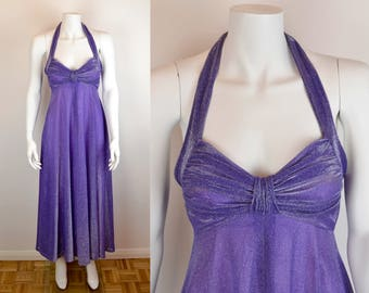 70s purple and silver lurex halterneck dress Sz XS-S | backless long maxi disco empire line dress vintage ruched shelf bust John Marks