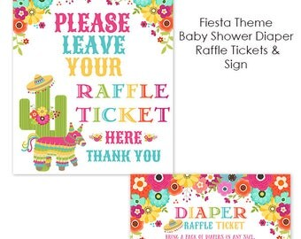 Mexican Fiesta Baby Shower Diaper Raffle Ticket  with Colorful Flowers, Piñata, Sombrero, Bring Diapers, Printable File
