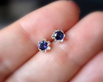 Iolite Earrings, Stud Earrings, Child or Teen, Genuine Gemstone, Flower, 4mm Stone, Sterling Silver Post, September Birthstone Jewelry