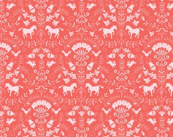 Hill & Dale - Thistle in Coral by Ana Davis for Blend Fabrics