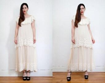Vintage Lace Victorian Silk Cape Bohemian Kaftan Dress Bardot Wedding Dress