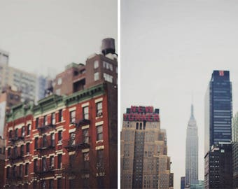 Urban Impressions - Set of Two Photographs, New York City, Manhattan, Empire State Building, wall art, room decor