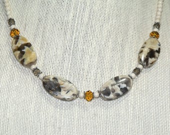 Gray and Yellow Jasper with River Rock and Faceted Glass Mixed Bead Necklace Boho Free Spirit Hippie Chic Indie Jewelry