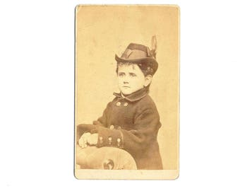 Small Vintage Cabinet Card Little Lord with a Feather in his Hat Sepia Tone E. P. Dunshee Artist Photographer 58 Temple Place Boston 1877