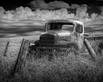 Seen Better Days. Dodge Pickup Truck languishing in a Field of Grass No.BW5050 A Fine Art Black and White Landscape Photograph