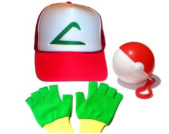 Kids size Pokemon Ash Trainer Hat Gloves and Ball Set Halloween costume
