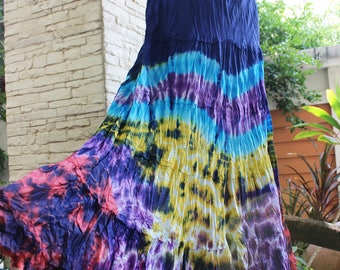 ARIEL on Earth - Boho Gypsy Long Tiered Ruffle Patchwork Tie Dyed Cotton Skirt - TD1706-03