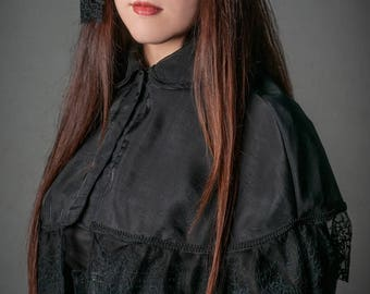 Queen of decadence chiffon and lace Capelet, Gothic Lolita  Cape