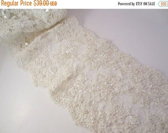 """ON SALE Ivory Beaded French Alencon Lace Trim 8"""" Wide--One Yard"""