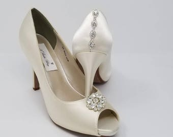 Ivory Wedding Shoes Ivory Bridal Shoes with a Sparkling Crystal Flower Design and Back Crystal Design -  Over 100 Colors To Pick From