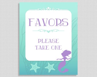 Favors Please Take One Sign, Mermaid Shower Favor Sign, Aqua, Purple, Baby Girl Shower Sign, INSTANT PRINTABLE