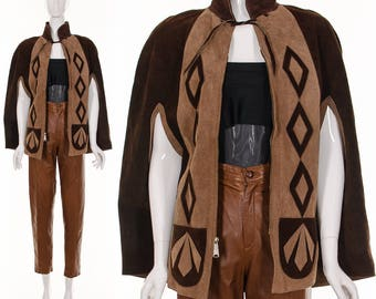 60's DIAMOND Leather Cape Poncho Brown Color Block Suede Leather Zip Up Capelet Hippie Boho Festival Flower Child Leather Cape One Size